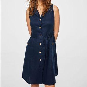 MANGO 100% Linen Navy Blue Button Dress Sleevless